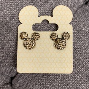 Black and Gold Rhinestone Mickey Mouse Earrings